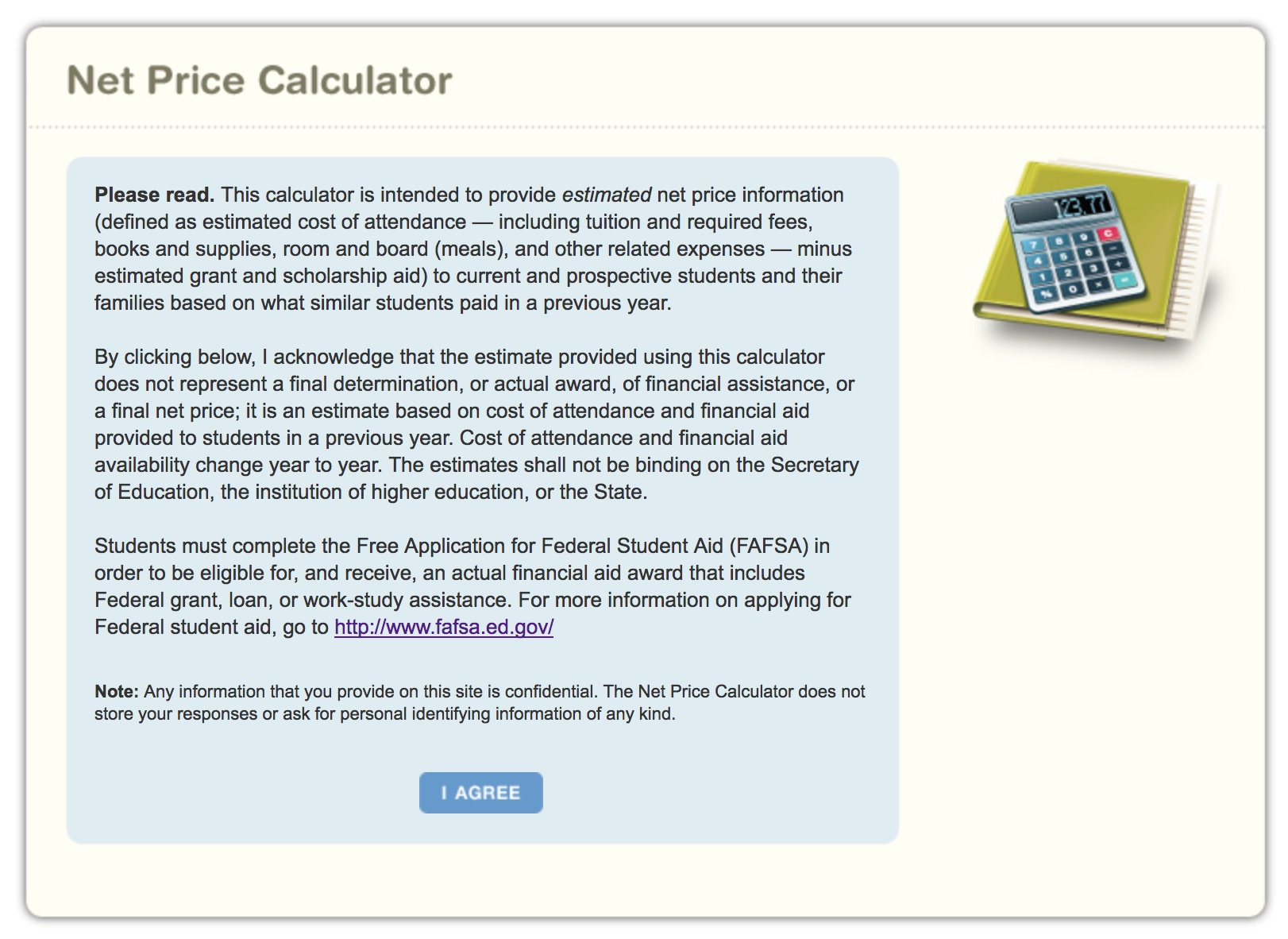 Aidcalc using a net price calculator for Net price calculator template